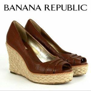 Banana Republic Brown Wedge Espadrille Sandals